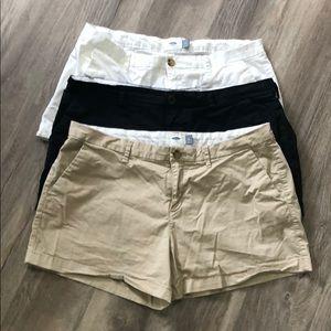 Black, Shite and Khaki shorts